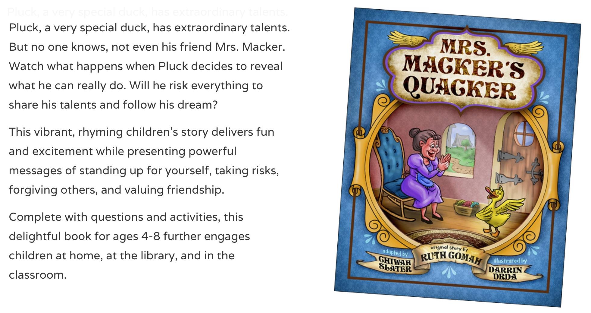 Mrs. Macker's Quacker, children's book front cover with book description