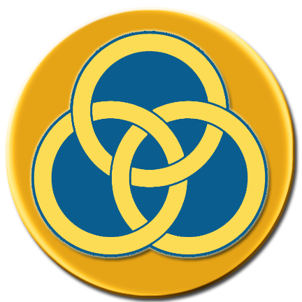 RINGS, TEAL and GOLD, ON BRIGHT GOLD CIRCLE