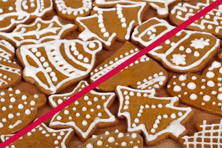 Christmas Cookies, diagonal red line, pub domain