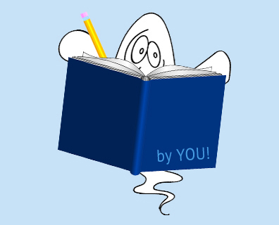 GHOST Writer peeks out from behind book 350X400px