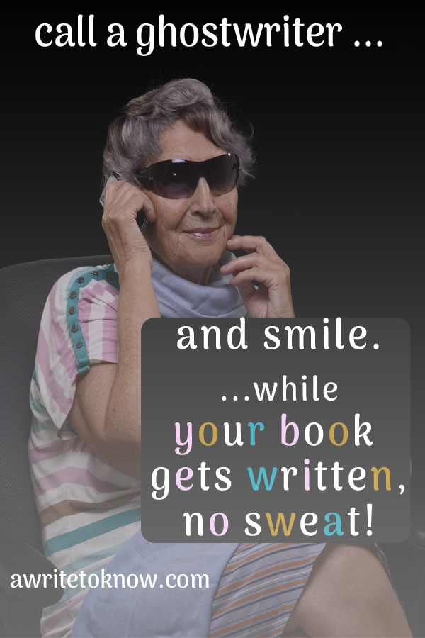 """A picture of a happy businesswoman smiling as she talks on the phone to her ghostwriter, with text saying, """"Call a ghostwriter, and smile while your book gets written, no sweat."""""""