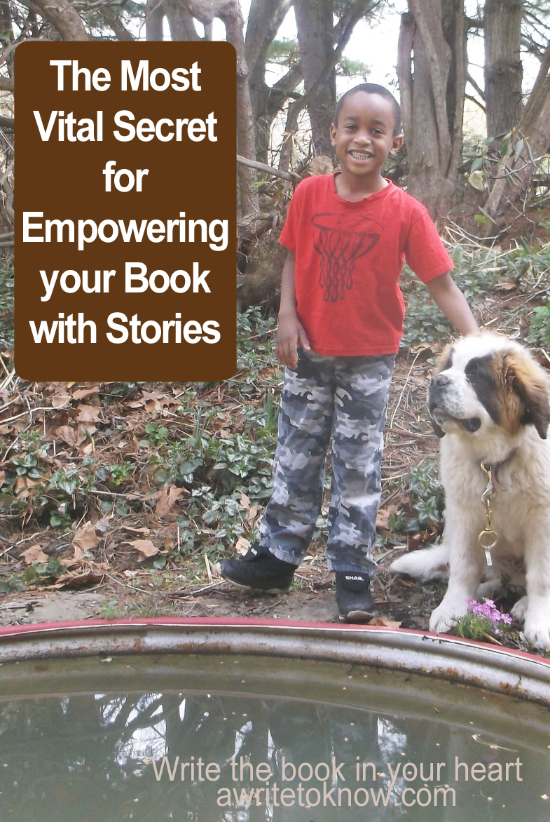 "A boy and a dog standing by a pond with words that say ""The One Vital Secret for Empowering Your Book with Stories."""