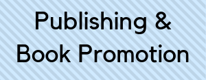 """Blue box with text """"Publishing & Book Promotion"""""""