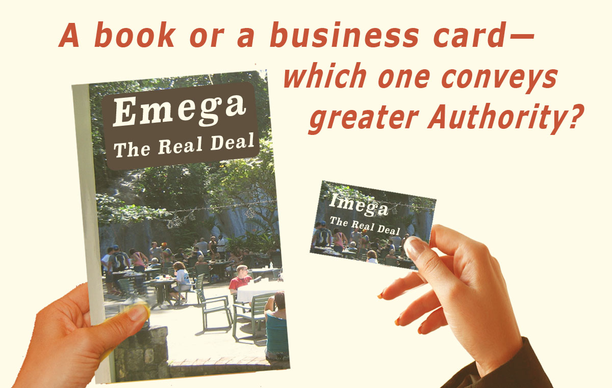 "On the left we see a woman's hand holding a book, and on the right a hand holding a business card. The words ask, ""Book of Business Card? Which one conveys greater authority?"""