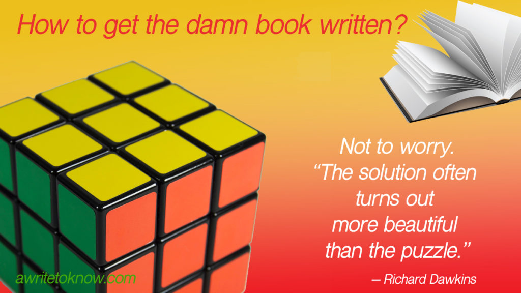 "A bright, shiny Rubix cube and a book on a red and gold background, with words saying, ""How to get the damn book written? And a quote from Richard Dawkins that says, 'Not to worry. The solution often turns out more beautiful than the puzzle.' """