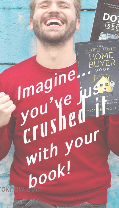 """A 30-something man in red sweater celebrates his victory, with words that say """"Imagine, you've just crushed it with your book!"""""""