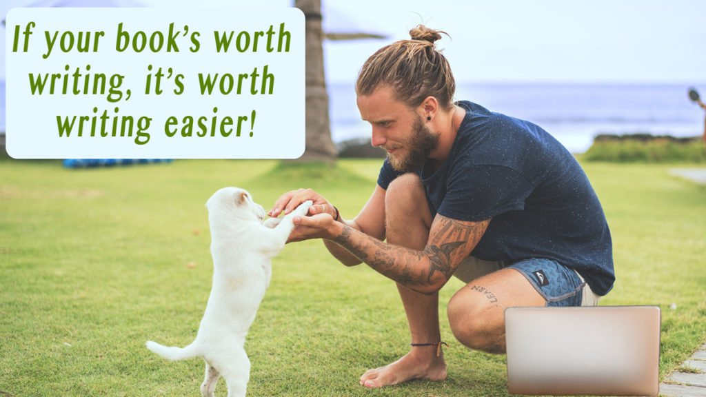 "A young man plays with his white shih tzu puppy on the grass at the beach, taking a break from writing on his laptop. The words say, ""If it's worth writing, it's worth writing easier."""