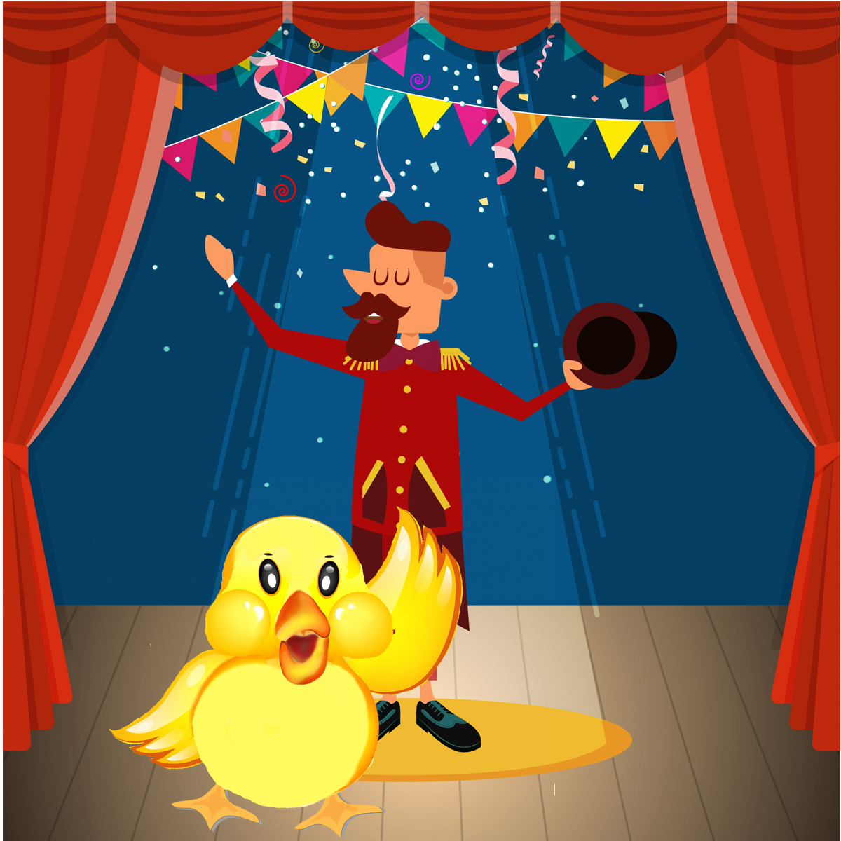 A picture of a fluffy yellow toy duck upstaging the flamboyant circus manager on stage.