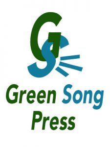 A large green G with a blue S hanging from it, Green Song Press